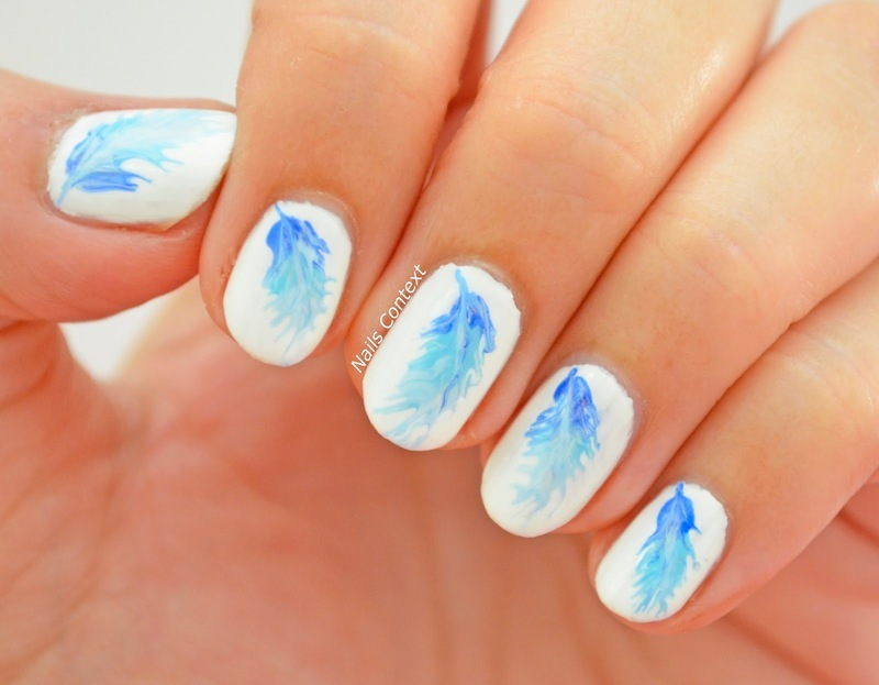 Ombre Drag Marble Feather Nails Nail Art By Nailscontext Nailpolis