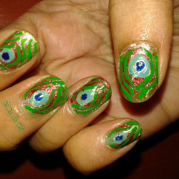 Peacock nail art by Rusa
