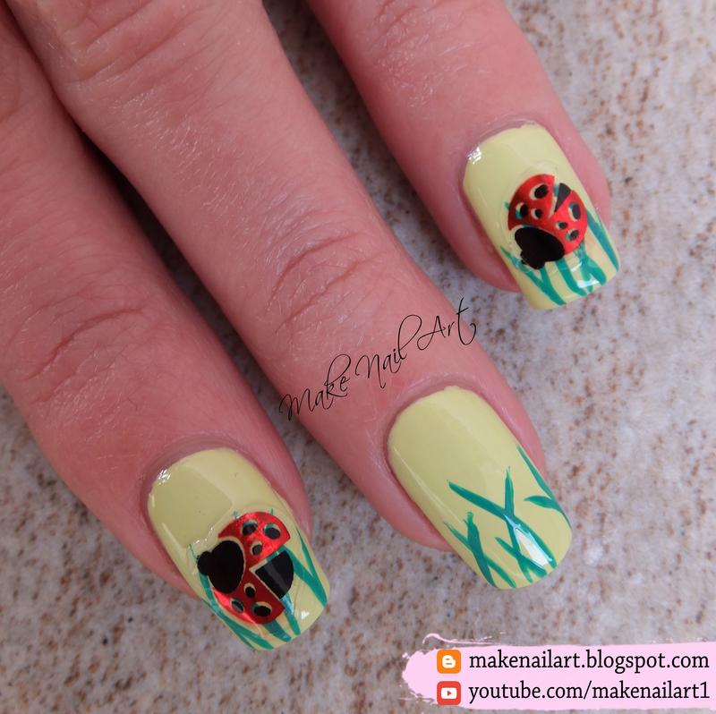 Spring Ladybug Nail Art Design Nail Art By Make Nail Art Nailpolis