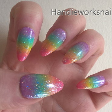 Holo Rainbow nail art by Sazjay