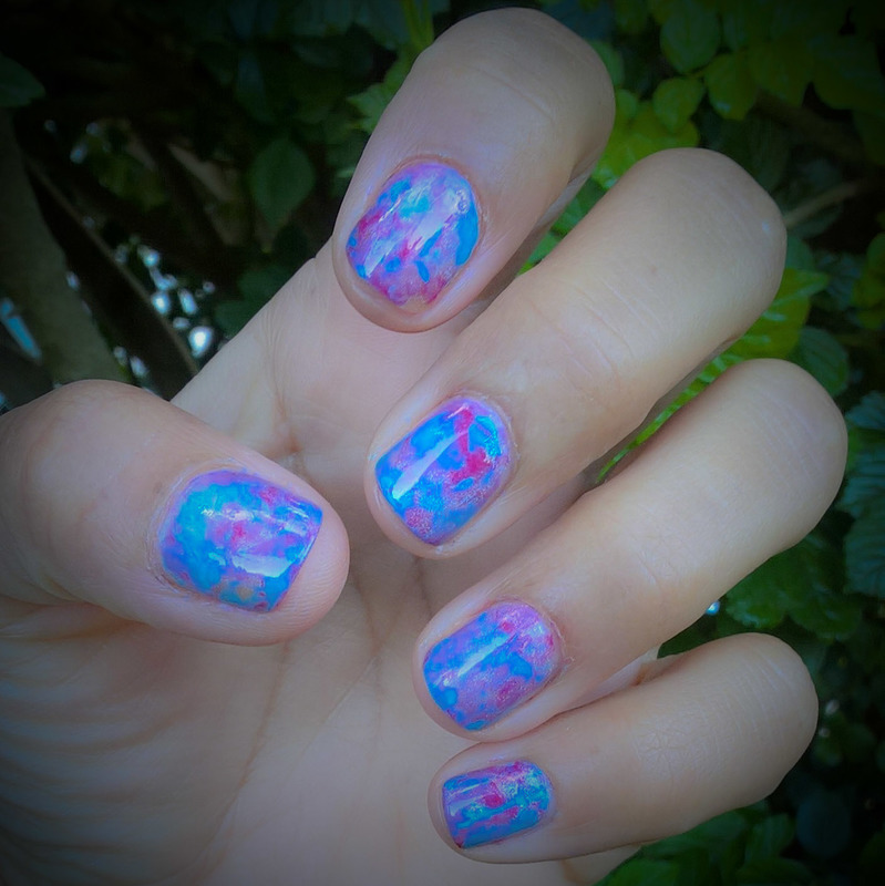 Blue, Brigh Pink, Lilac, and Silver Holo #smooshynailsunday nail art by Avesur Europa