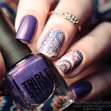Purple and slider-design nail art by Irina Zorg