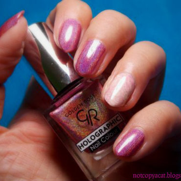 Golden Rose, Holographic, nr 04. nail art by notcopyacat