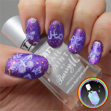Freehand Fibromyalgia Awareness Nail Art nail art by Ithfifi Williams