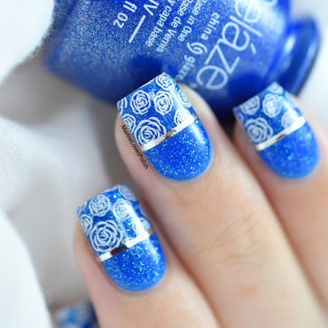 Roses are blue nail art by Marine Loves Polish