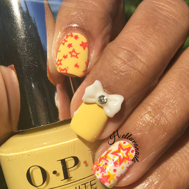 Sunshine and Stars nail art by SYLVIA H