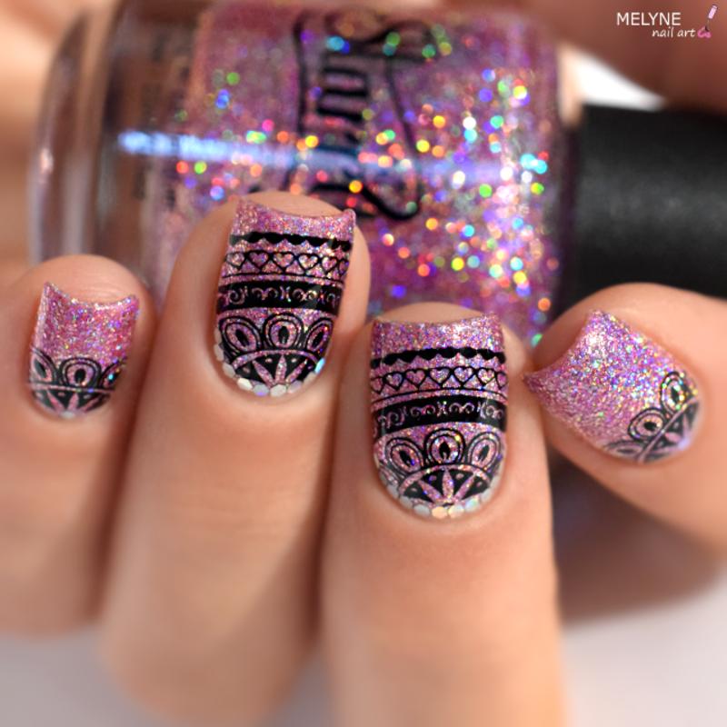 bling bling nail art - ruffian, stamping, glitter nail art by melyne nailart