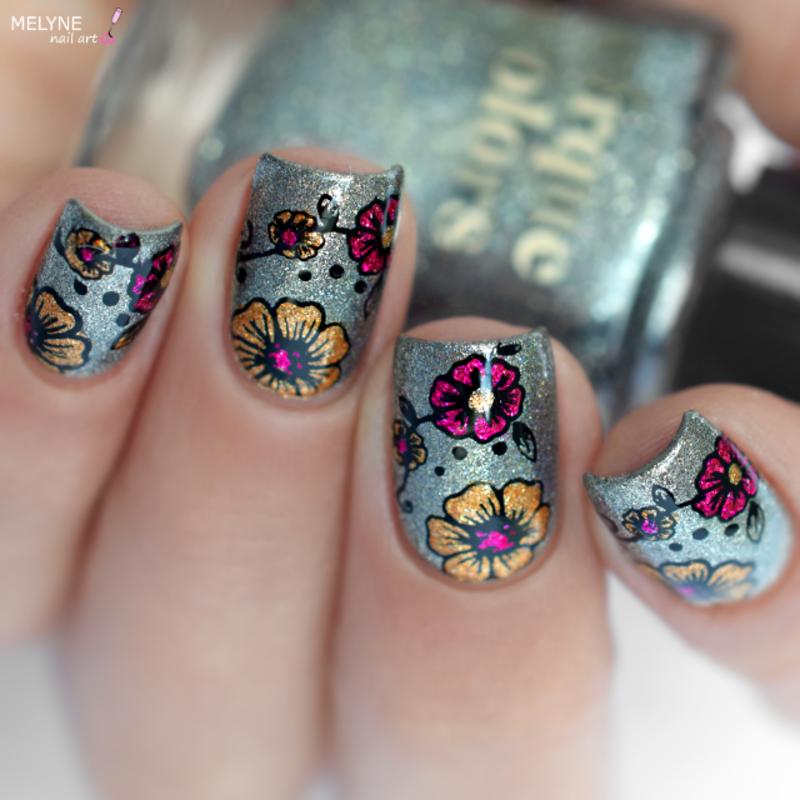 Floral Reverse stamping nail art by melyne nailart