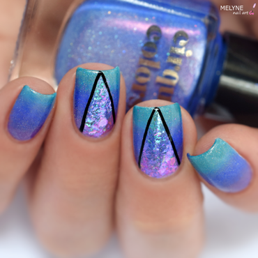 "Gradient Nails and Flakies Iridescents ""Mystery"" nail art by melyne nailart"