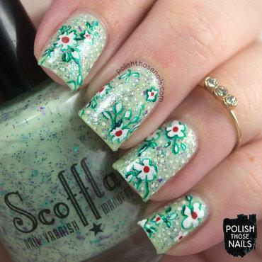 Pastel green glitter floral pattern nail art 4 thumb370f