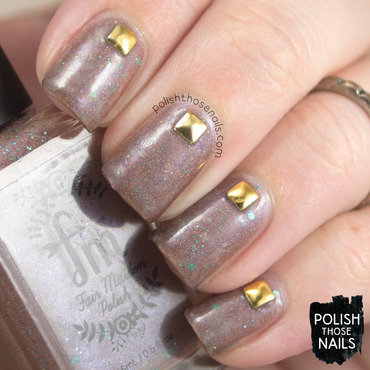 Brown shimmer stud nail art 4 thumb370f