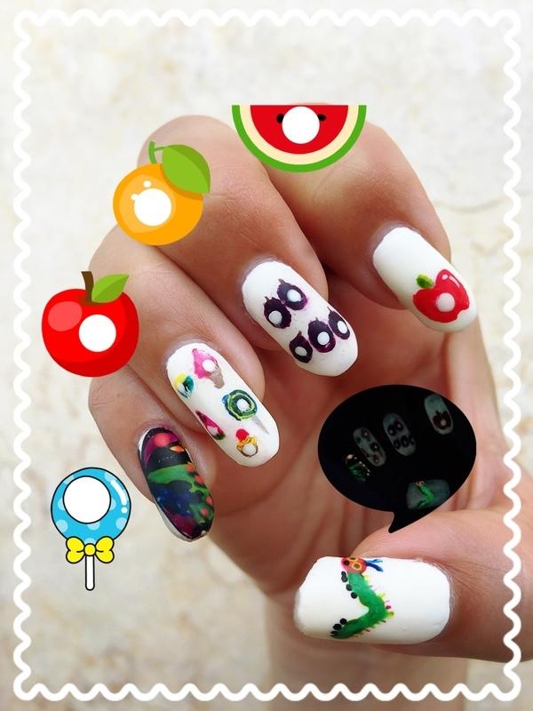 the very hungry caterpillar nail art by Idreaminpolish
