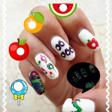 the very hungry caterpillar nail art by Idreaminpolish