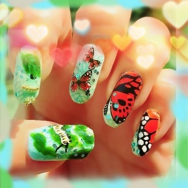 life cycle of the monarch butterfly nail art by Idreaminpolish