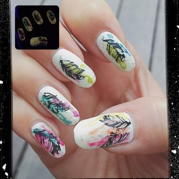 feathers (watercolor series) nail art by Idreaminpolish