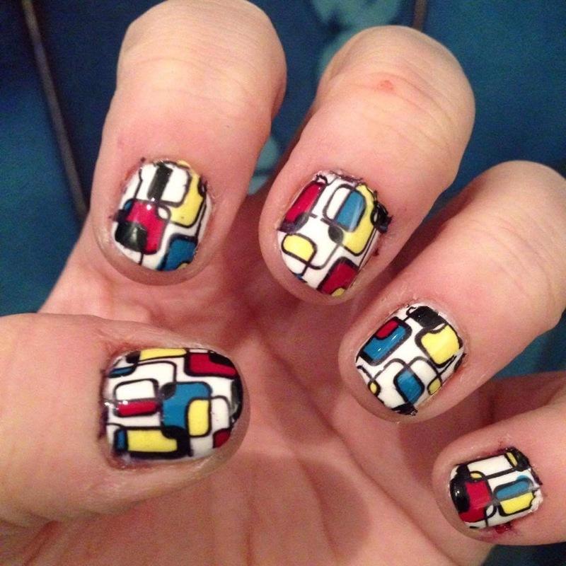 Piet Mondrian nails nail art by Rezingona