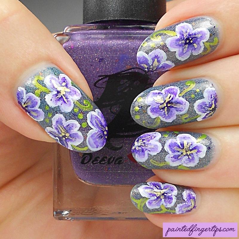 Rainforest flowers nail art by Kerry_Fingertips