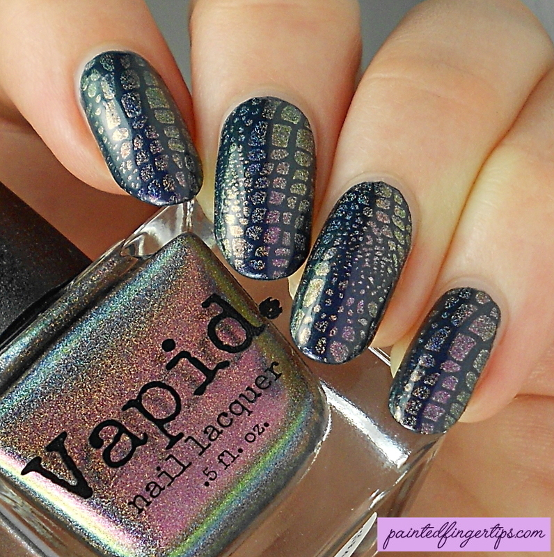Stamped snakeskin nail art by Kerry_Fingertips
