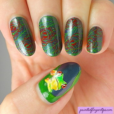 Tree frog nails nail art by Kerry_Fingertips