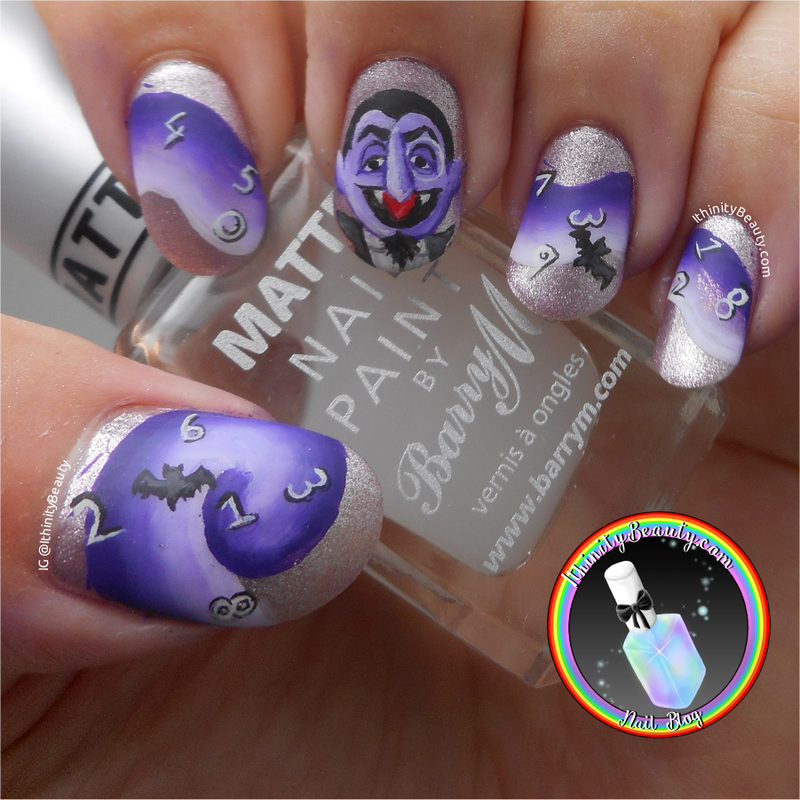 Freehand Count Von Count - Sesame Street nail art by Ithfifi Williams
