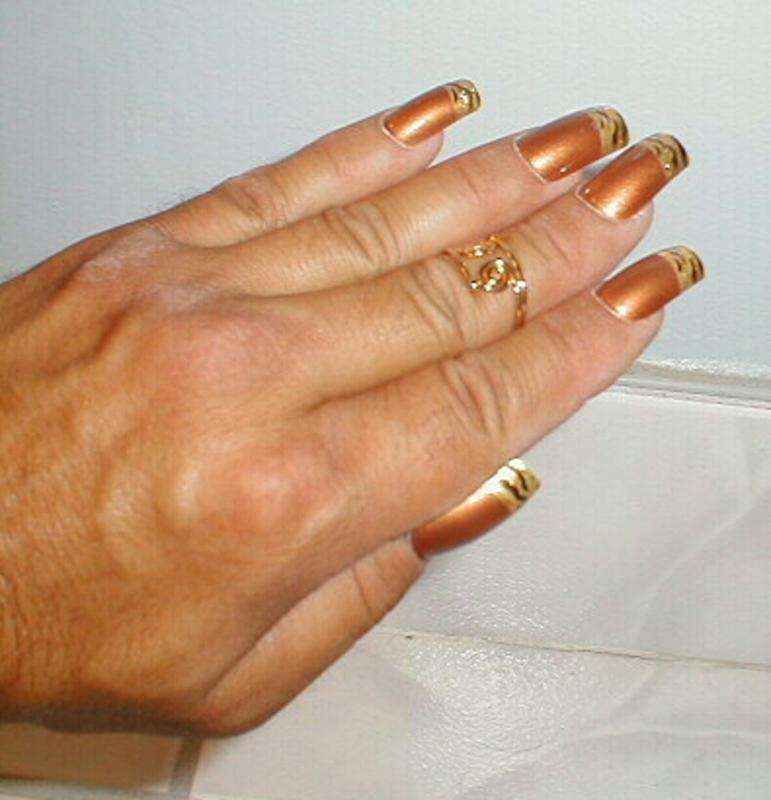 Tiger Tips nail art by Kristina