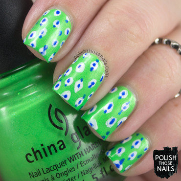Neon green polka dot pattern nail art 4 thumb370f