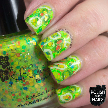 Neon green glitter squiggles pattern nail art 4 thumb370f