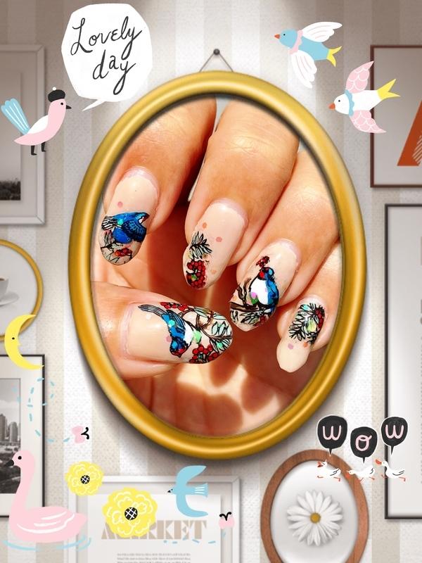 hello, blue bird nail art by Idreaminpolish