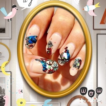 hello, blue bird nail art by Idreaminpolish