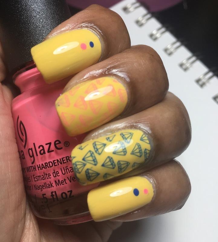 Pink & Blue Diamonds 💎  nail art by Chloe Jay