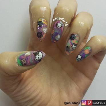 Psychedelic Kitties nail art by chleda15