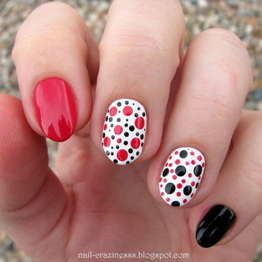 Black, red, white nail art by Nail Crazinesss