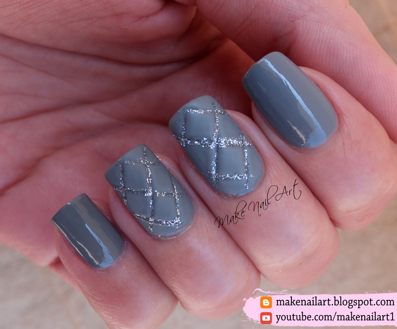 Grey Quilted Nail Art Design nail art by Make Nail Art