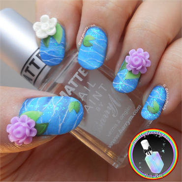 3D Water Lilies nail art by Ithfifi Williams