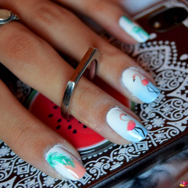 Summer Flamingos nail art by i-am-nail-art