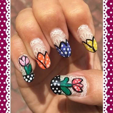 tulips and lace nail art by Idreaminpolish