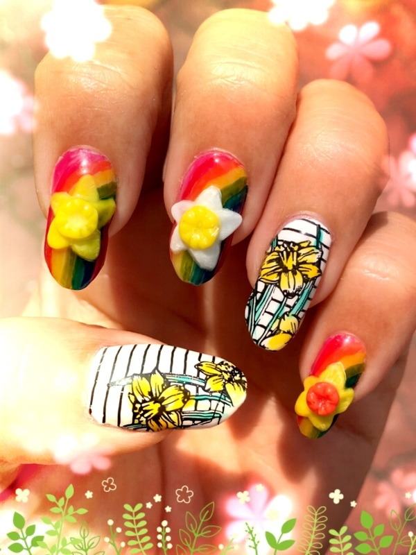 daffodils and rainbows nail art by Idreaminpolish