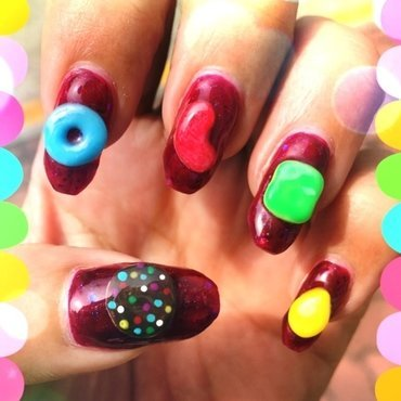 jelly crush (video games series) nail art by Idreaminpolish