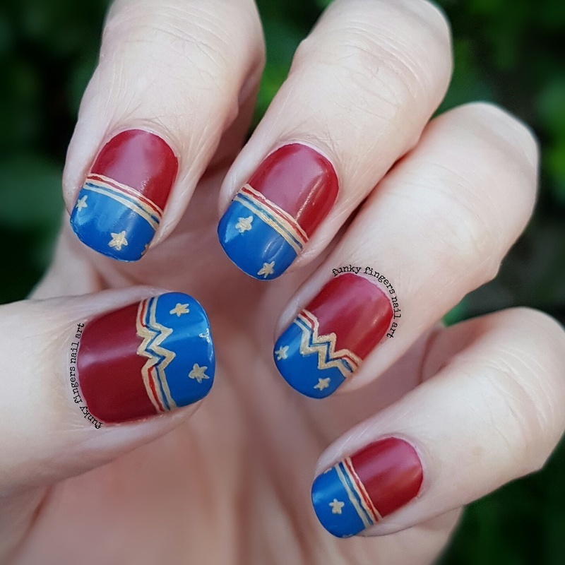 Trolls Movie Nail Art: Wonder Woman Movie Nails Nail Art By Funky Fingers Nail