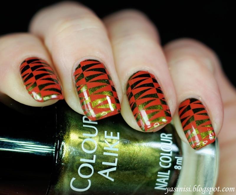 Olive and orange nail art by Yasinisi
