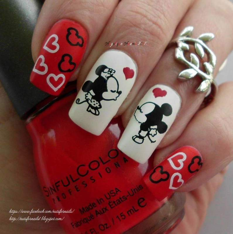 Mickey and Minnie nail art by Angelique Adams