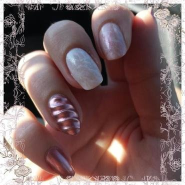 Rose Quartz & Unicorn horn nail art by mariejane