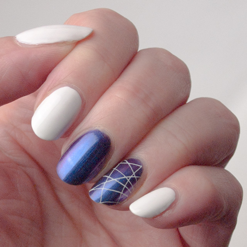 Is it blue? Is it purple? Is it pink? nail art by What's on my nails today?