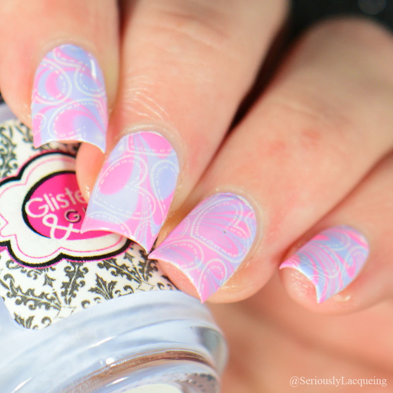 Cute Heart Water Marbling nail art by Crystal (Seriously Lacqueing ...
