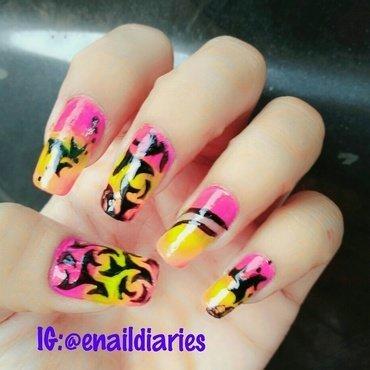 Nail art using nail vinyls..  nail art by Enaildiaries