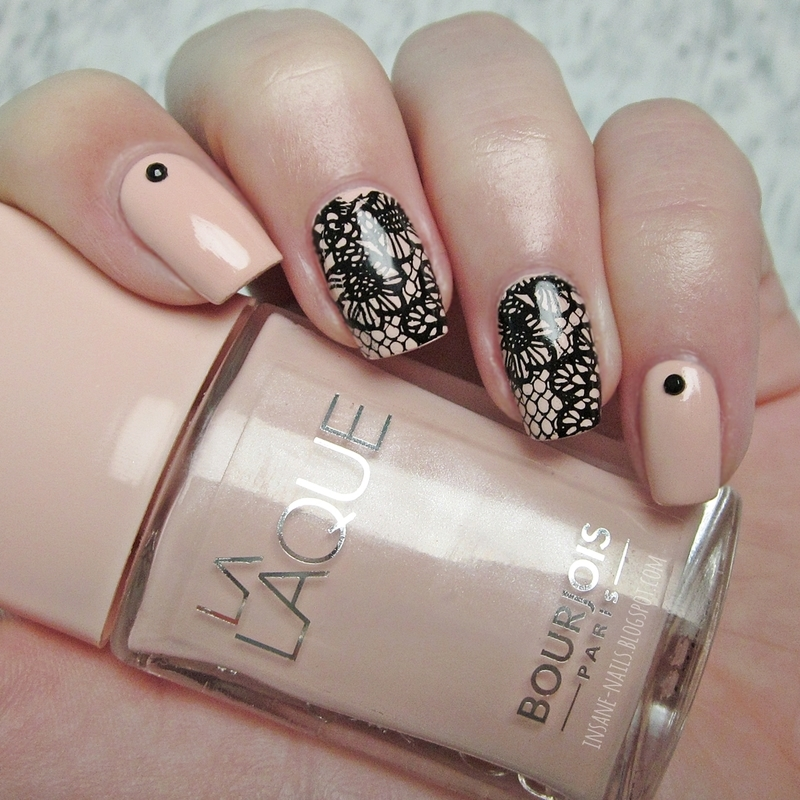 Nude lace with studs nail art by Sanela - Nailpolis: Museum of Nail Art