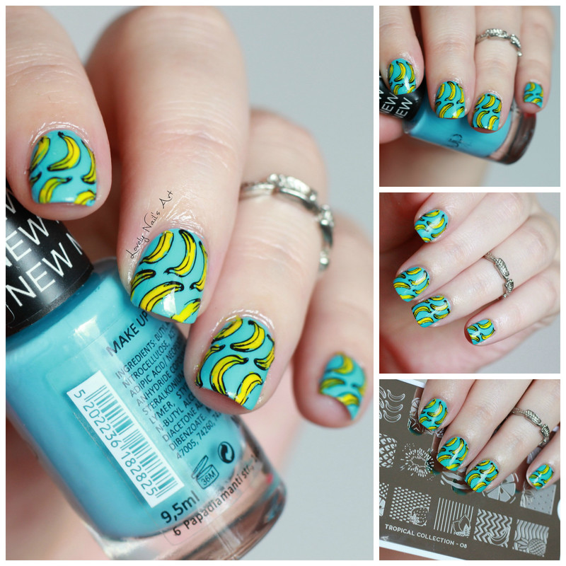 Nail art stamping banane nail art by Lovely Nail's  Art