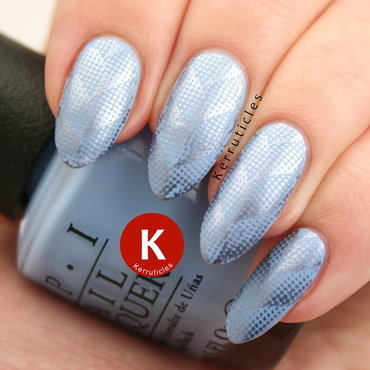 Blue herringbone stamping nail art by Claire Kerr