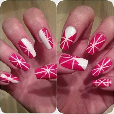 Playfull lines nail art by Maria T.