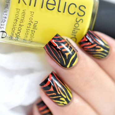 Summer Zebra nail art by Marine Loves Polish